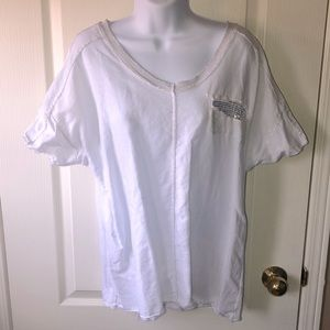 NWOT Made In Italy white with sparkle t shirt.